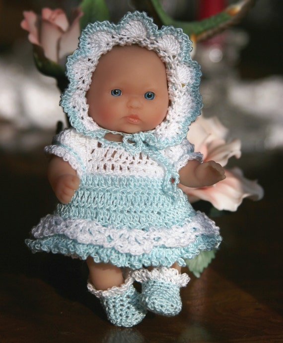 Crochet Baby doll clothes Berenguer 5 inch baby Victorian Dress Set