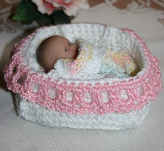 Crochet Bassinet For Berenguer 5 Inch Baby Doll Pink And White