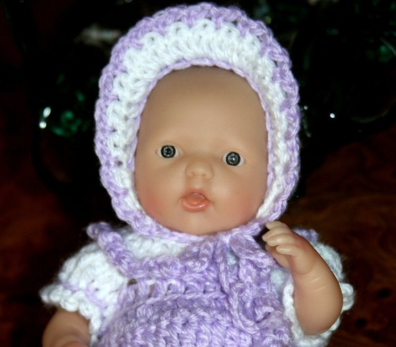 Crocheted outfit for Berenguer 7.5 or Circo 8 inch slim baby doll Lavender Romper Sleeper