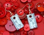 Tape Measure Earrings in White