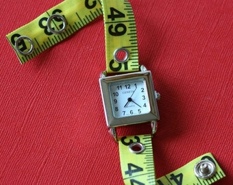 Tape Measure Watch in Bright Yellow - Square Face - Statement Jewelry created with Upcycled Measuring Tape