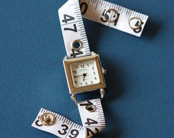 Tape Measure Watch in White - Square Face - Statement Jewelry created with Upcycled Measuring Tape