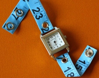 Tape Measure Watch in Blue - Square Face