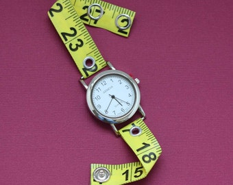 Tape Measure Watch in Bright Yellow - Round Face - Statement Jewelry created with Upcycled Measuring Tape