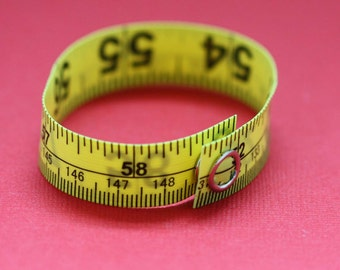 Five Pack of Tape Measure Bracelets in Various Colors - Statement Jewelry created with Upcycled Measuring Tape - Vinyl Snap Bracelet