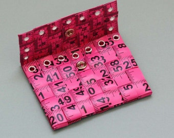 Tape Measure Coin Pouch in Pink - Coin Purse or Wallet created with Upcycled Measuring Tape