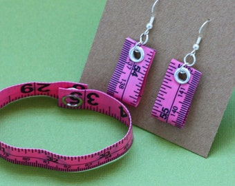 Tape Measure Jewelry Set in Pink - Earrings and Bracelet - Statement Jewelry created with Upcycled Measuring Tape
