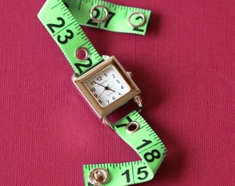 Tape Measure Watch in Green - Square Face - Statement Jewelry created with Upcycled Measuring Tape