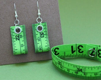 Tape Measure Jewelry Set in Lime Green - Earrings and Bracelet