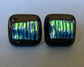 Post Earrings, Multicolored Glass Earrings, Hypoallergenic Studs, Fused Glass Jewelry - Tropical Nights - 407 -2
