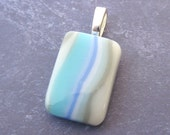 Fused Glass Pendant with Multicolored Glass and Large Silver Bail - Salt Creek - 3839