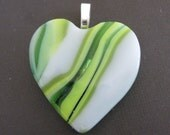 Fused Glass Heart Pendant, Lime Green Pendant, Heart Slide, Love Jewelry - Crazy in Love - 3868 -2