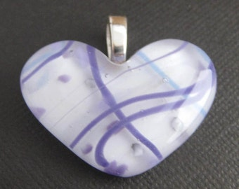 Violet Purple Heart Pendant, Purple and White, Ready to Ship, Heart Jewelry, Fused Glass Jewelry - Breezy - 3150 -2