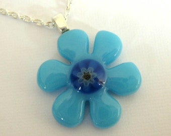 Flower Necklace, Nature Necklace, Blue Flower, Fused Glass Necklace, Flower Jewelry - Blueberry Hill - 3388 -2