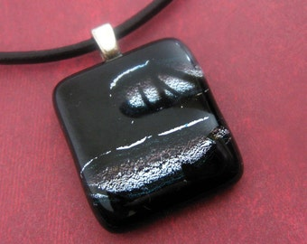 Fused Glass Necklace,  Black, Silver, One of a kind, Ready to Ship - Broad Band - 3619