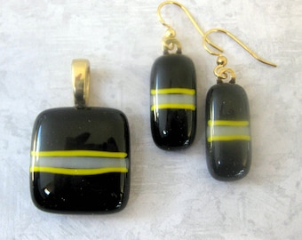 Black Jewelry Set, Black Necklace & Earring, Simple Jewelry Set, Striped Fused Glass Jewelry Set - Pittsburg Policy - 3645 -2