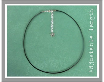 Adjustable Length - Black Satin Cord Necklace With Silver Plated Clasp - Choice of Charm Style