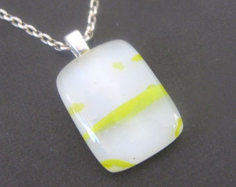 Mini Fused Glass Necklace, White Glass Pendant, Yellow Accents, Jewelry - Sunray - 3653