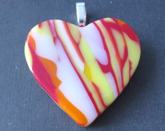 Glass Heart Necklace, Fused Glass Jewelry, Red Yellow and White Heart, Romantic Jewelry, Ready to Ship - Summer Love - 3889
