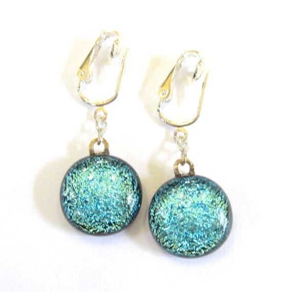 Blue Dichroic Earrings Clip On - Let's Dance - 1159