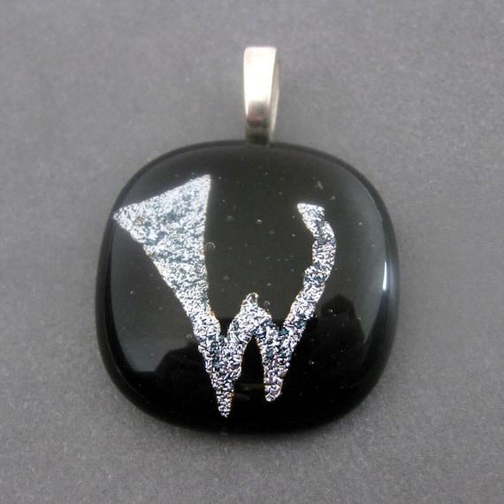 W Pendant, W Initial Pendant, Letter Pendant, Omega Slide, Etsy Alphabet Jewelry - Initial W - 3615 -2