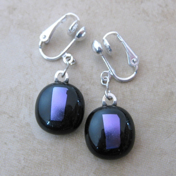 Purple Clipons, Dichroic Clip Earrings, Dangle Clip On Earrings, Fashion Earings- Kadence - 873 -2