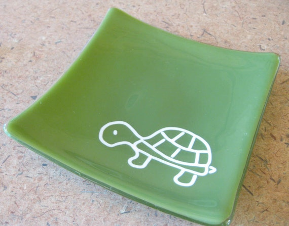 Thomas the Turtle - Glass Jewelry Plate, Soap Dish, Candle Holder, Home Decor Plate - tt team 282