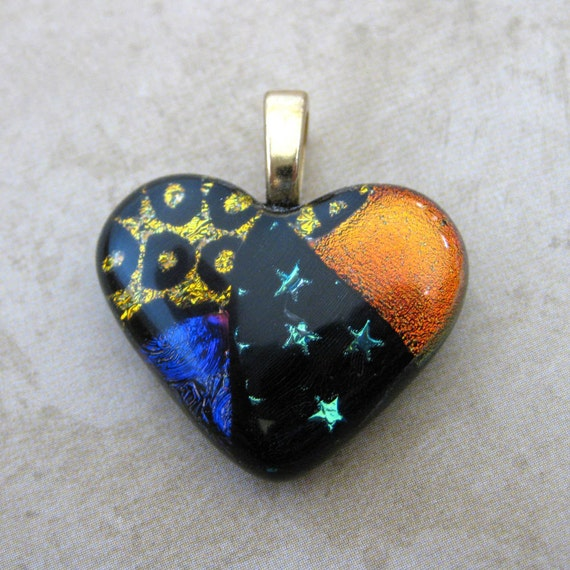 One of a Kind Heart, Dichroic Glass Heart Pendant, Artisan Jewelry - Challenger - 3153 -2
