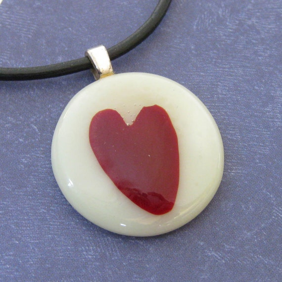 Heart Necklace, Red Heart Necklace, Glass Fusing Jewelry, Heart Jewelry - Endless Love - 2787 -2