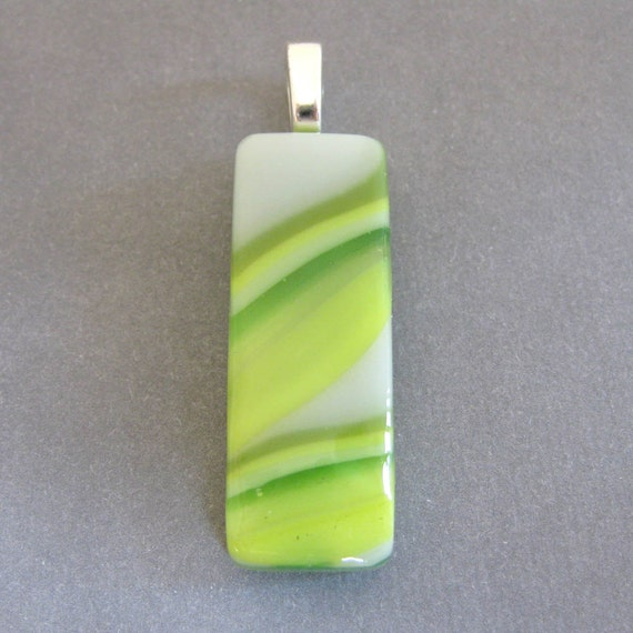 Fused Glass Pendant, Green and Yellow Pendant Slide, Large Silver Bail - Meltaway - 3846