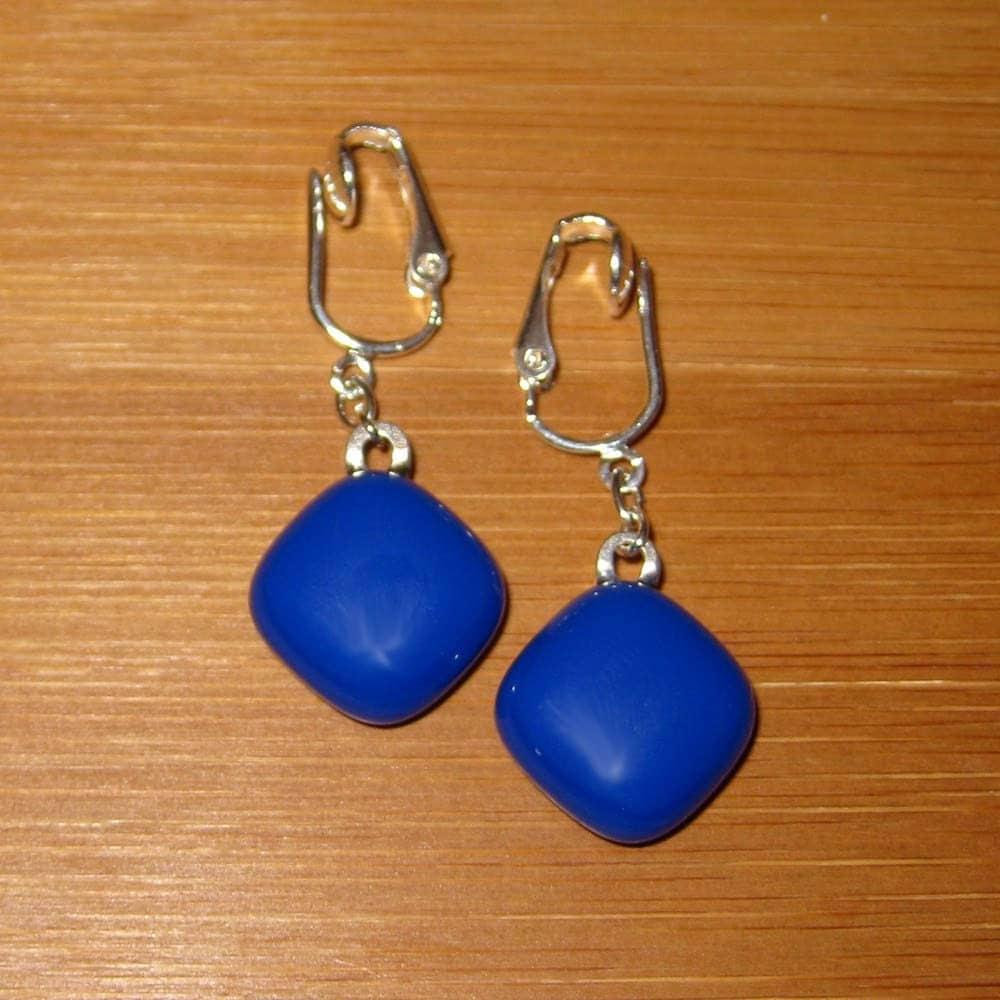 royal blue clip on earrings dangle clp on earrings by