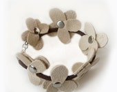 Cream Suede Dogwood Flower Bracelet