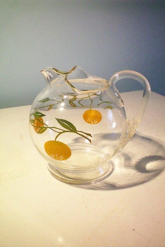 Vintage 1 Qt Glass Juice Pitcher W Orange Designs 1950s