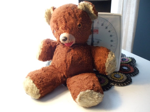 Vintage Reddish Brown Teddy Bear with Rubber Nose