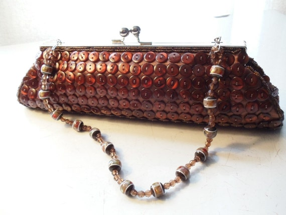 Vintage Brown Button and Beads Evening Clutch Purse