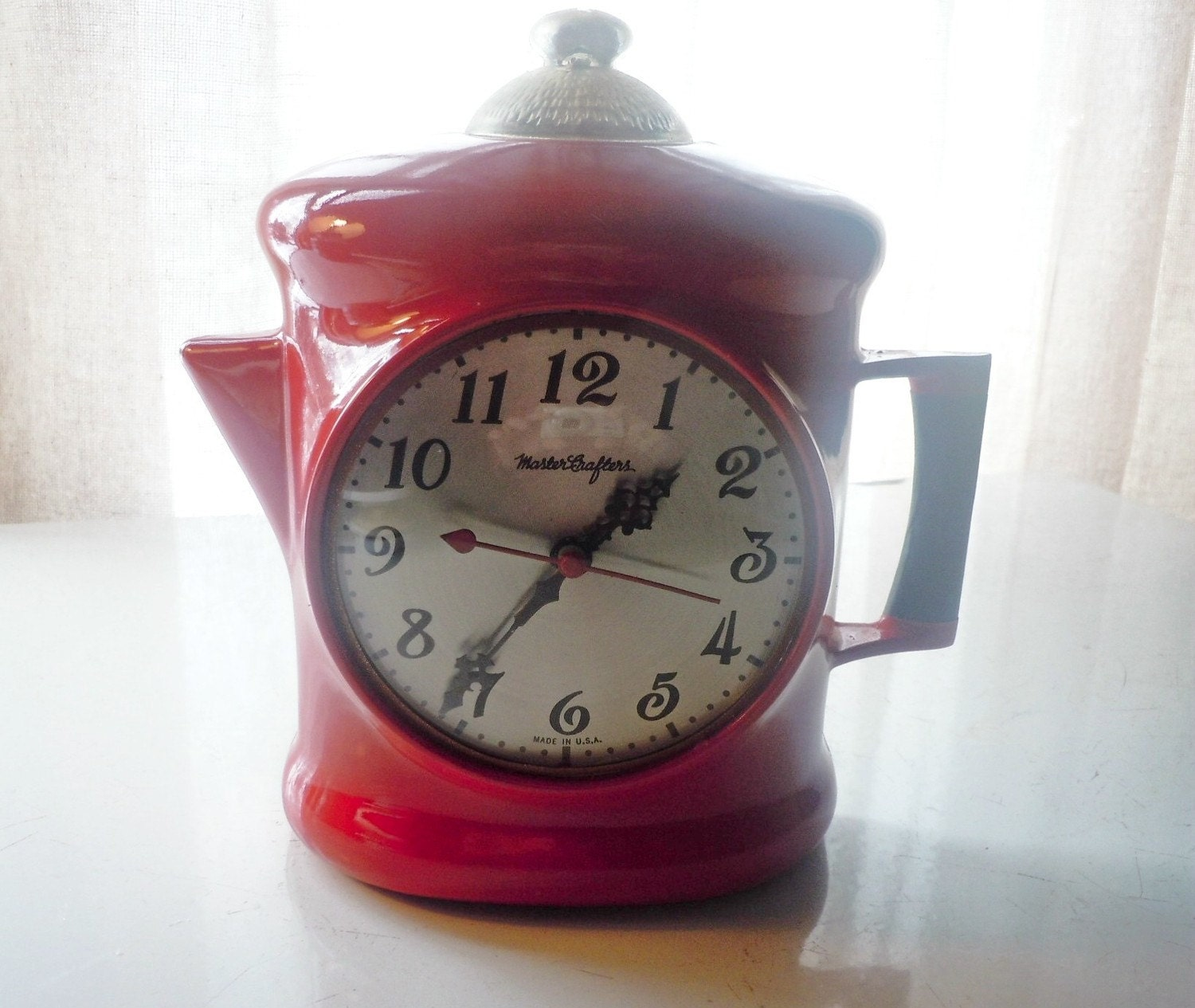 Vintage Master Crafters Coffee Pot Wall Clock With Light