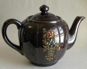 Charming Small Brown Teapot with Gold and Enameled Design