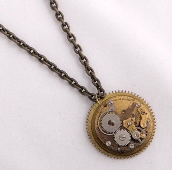 Steampunk Clock Gear and Watch Movement Necklace