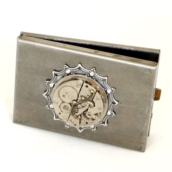 Steampunk Dark Silver Metal Compact Box with Vintage Watch and Brass Flourish by Velvet Mechanism