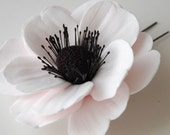 "Custom Listing for Shannon - 3.5"" White anemone with black center on alligator clip"