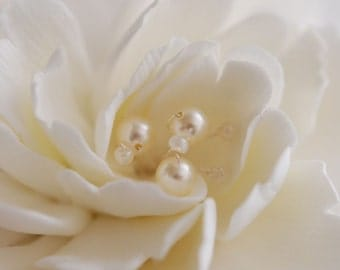 Made To Order - Couture Clay - Whitish-Ivory Peony Hair flower with Silver wired Swarovski Pearls and Seed Beads with Feathers