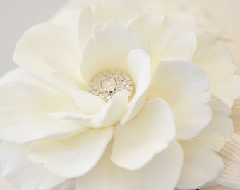 Couture Clay - Made to Order Ivory Shrub Rose Hair Flower with Pave Rhinestone Center and Off White Velvet Leaves