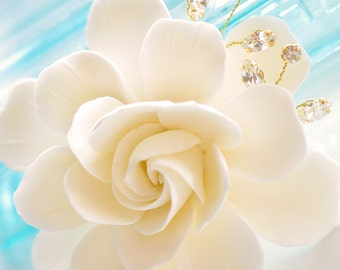 COUTURE CLAY - Made to Order Elongated Gardenia Flower with Handwired Rhinestones - You Pick Color