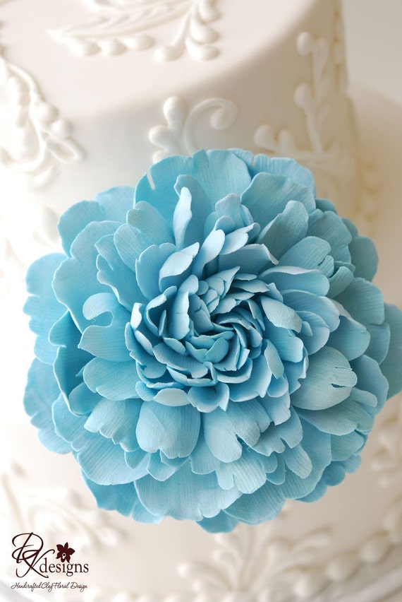 Couture Clay Tiffany Blue Frilly Peony Cake Flower - Made to Order