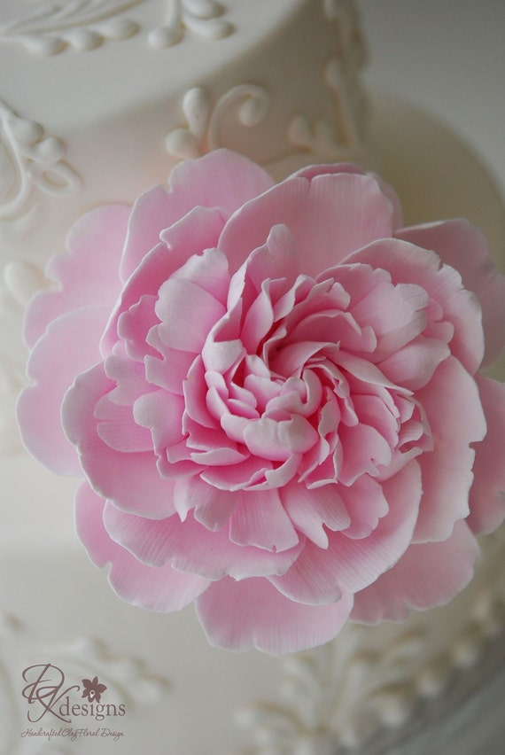 Couture Clay Frilly Pink Peony Cake Flower - Made to Order