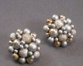 Jackie O. Earrings - Vintage 1960's White Grey and Gold Beaded Earrings