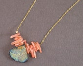 Reversible Pink Coral and Blue Sparkling Drusy Quartz Necklace