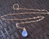 Blue Quartz Gold Lariat Necklace - Gem14 karat - Chain - Semi Precious Gem