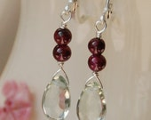 Green Amethyst, Garnet Beads in Sterling Silver - The Meadow Berries Earrings