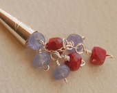Gemstone Necklace - Ruby and Tanzanite Gemstones in Sterling Silver - The Wildflower Bouquet Necklace